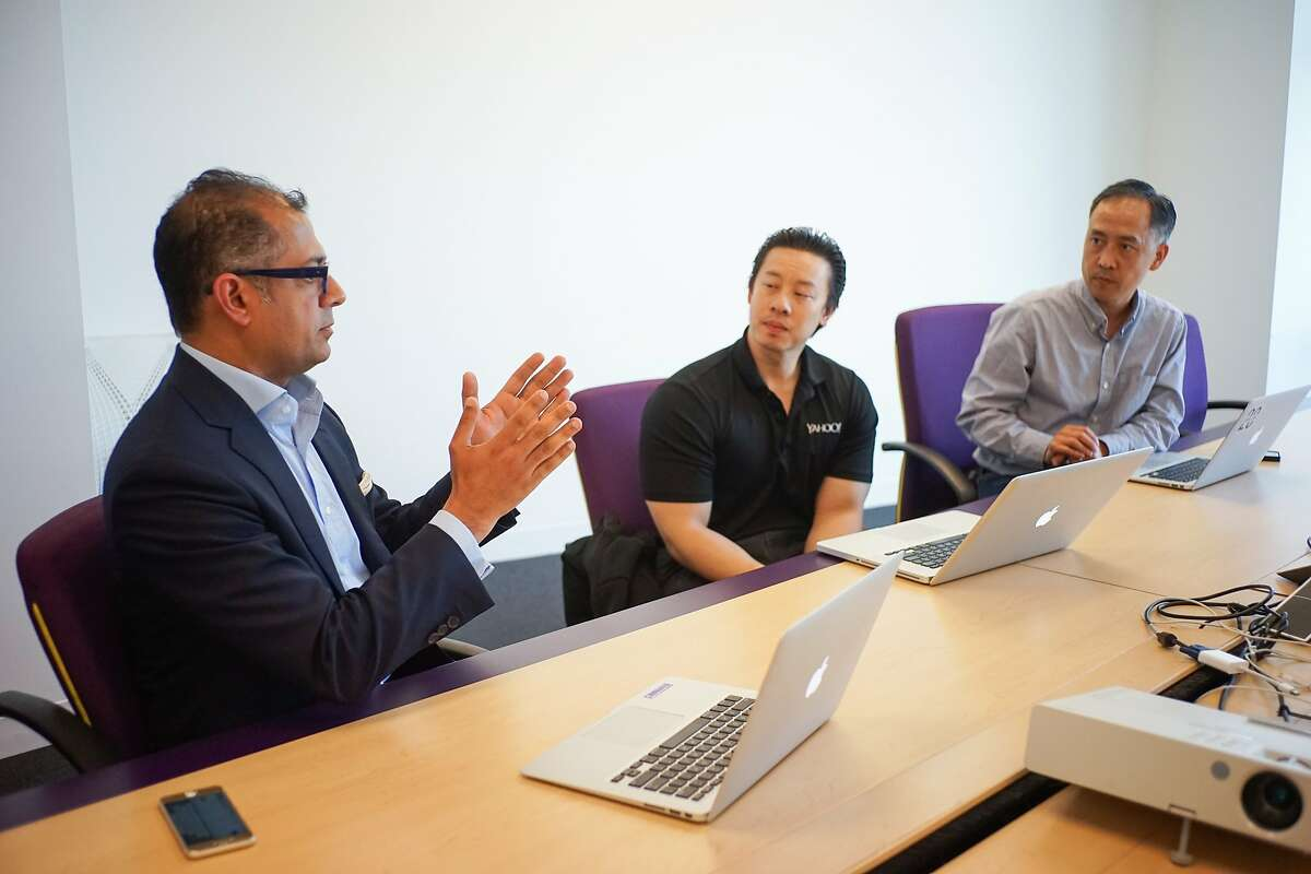 Amer Akhtar, head of Yahoo Small Business, leads his team in a meeting at Yahoo in Sunnyvale, Calif. on Friday, May 15, 2015. Akhtar will be leading the Yahoo Small Business team as they are spun off into their own company.