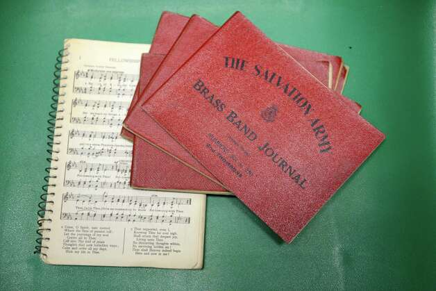 Salvation Army music books from the 1940s Wednesday May, 13, 2015, at the Salvation Army in Troy, N.Y. The Troy group recently celebrated their 130th anniversary.  (Will Waldron/Times Union) Photo: WW / 00031817A