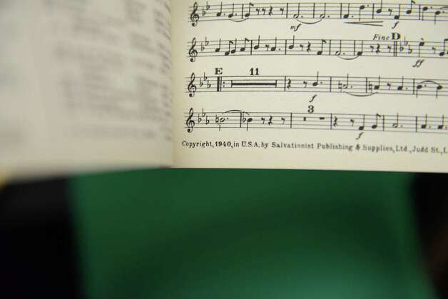 Salvation Army music book from the 1940s Wednesday May, 13, 2015, at the Salvation Army in Troy, N.Y. The Troy group recently celebrated their 130th anniversary.  (Will Waldron/Times Union) Photo: WW / 00031817A