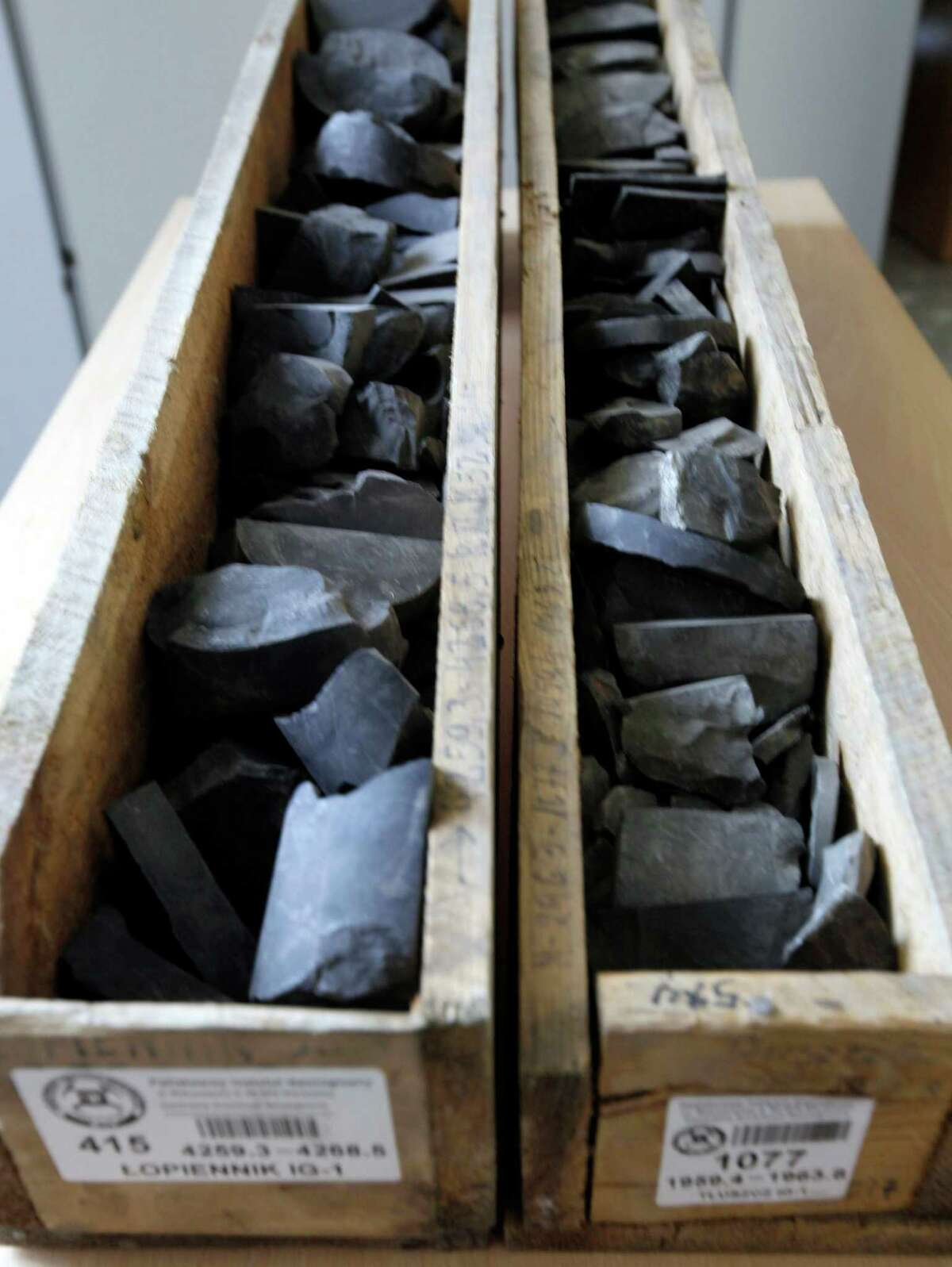 Samples of shale rocks recovered in central and eastern Poland are displayed at the State Geological Institute in Warsaw, Poland. Despite Europe's desire to loosen its reliance on Russian gas, the shale revolution has turned out to be a dud.