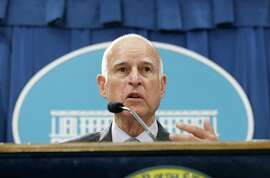 California Gov. Jerry Brown discusses his revised state budget plan during a news conference at the Capitol in Sacramento, Calif., Thursday May 14, 2015. Brown's $115.3 billion spending plan would send billions more to public schools and freeze in-state undergraduate tuition and establish a new state tax credit of the working poor. (AP Photo/Rich Pedroncelli)