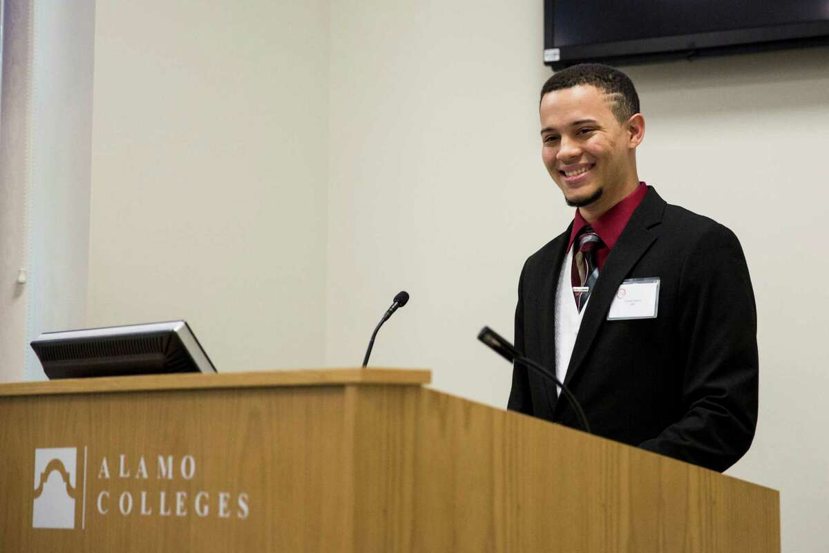 Brandon Gabriel gives a speech during Friday's ceremony.