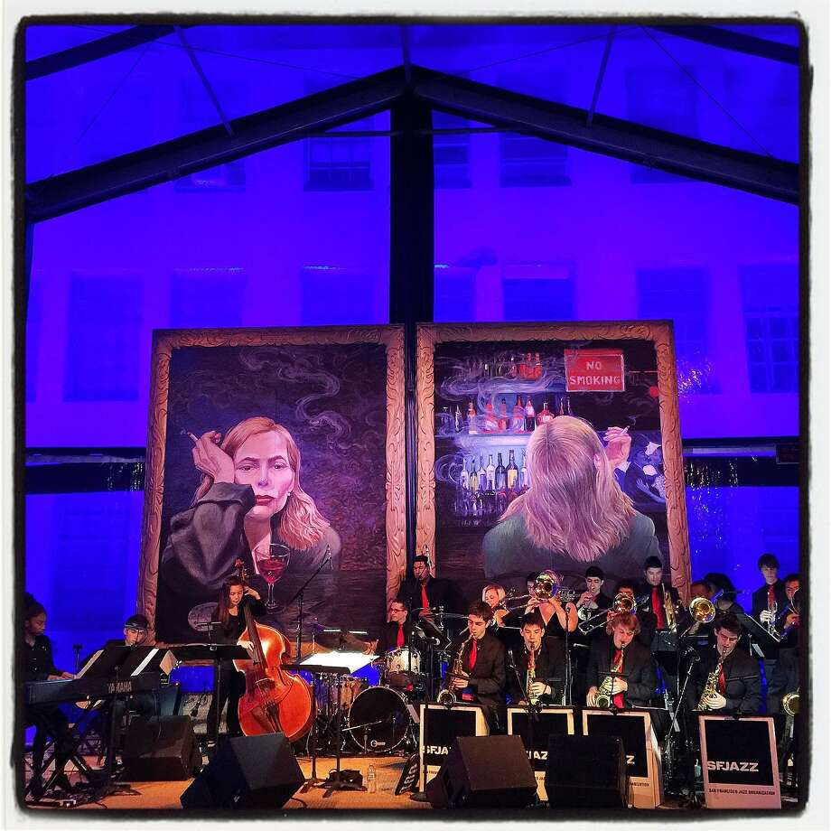 The SFJazz High School All-Stars play beneath a self-portrait album cover by Joni Mitchell in the Stanlee Gatti-designed dinner tent. May 2015. By Catherine Bigelow. Photo: Catherine Bigelow, Special To The Chronicle
