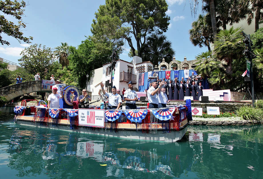 The United States Air Force float passes through the Arneson River Theatre during the Here's To Our Heroes Military River Parade May 19, 2012. Photo: Edward A. Orneles / San Antonio Express-News / © SAN ANTONIO EXPRESS-NEWS (NFS)