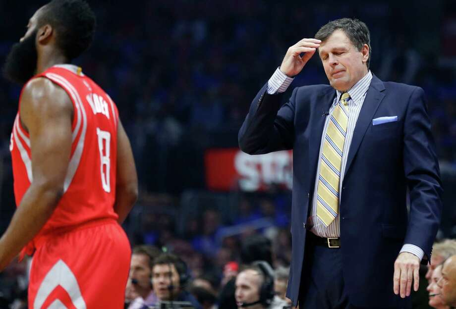 Coach Kevin McHale made the tough decision down the stretch of Game 6 to stick with the hot hands rather than put in James Harden. Photo: James Nielsen, Staff / © 2015  Houston Chronicle