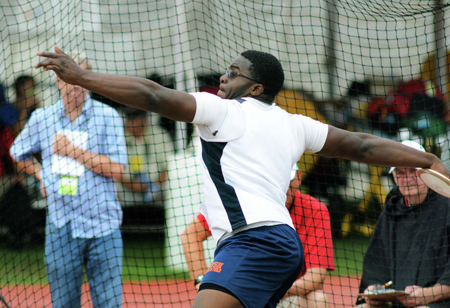 Fort Bend Bush senior Mbi Tanyi competes in the Class 5A Boys Discus competition during the 2015 UIL Track & Field State Championships at Mike A. Meyers Stadium in Austin on Friday, May 15, 2015. Photo: Jerry Baker, Freelance