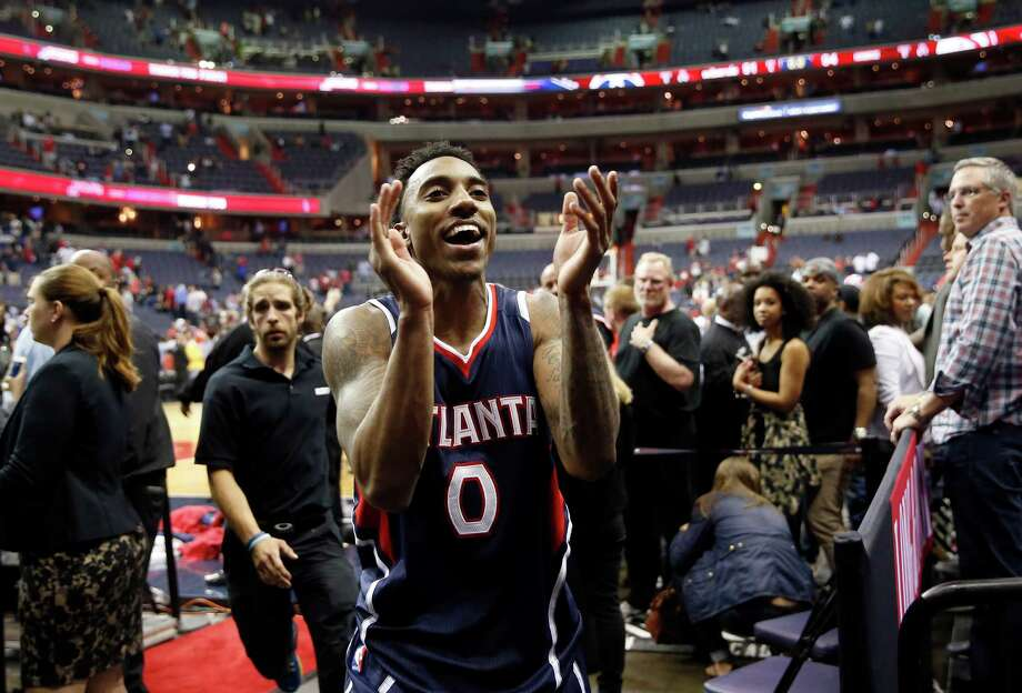 Jeff Teague and the Hawks had plenty to celebrate after beating the Wizards and making it to the franchise's first conference finals. Photo: Alex Brandon, STF / AP