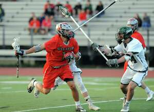 Niskayuna's John Pendergast during their high school lacrosse game against Shen on Tuesday May 12, 2015 in Clifton Park, N.Y. (Michael P. Farrell/Times Union)