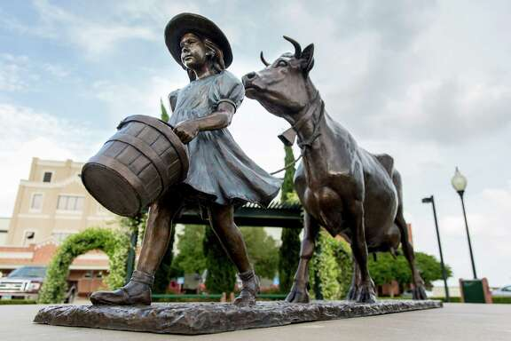 A statue based on the Blue Bell logo is displayed at the Blue Bell Creameries in Brenham. Blue Bell issued its first recall last month after its products were linked to a listeria outbreak.