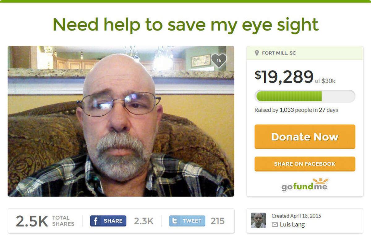 South Carolina resident Luis Lang doesn't have health insurance and is raising money on crowdfunding website GoFundMe to cover his medical bills.