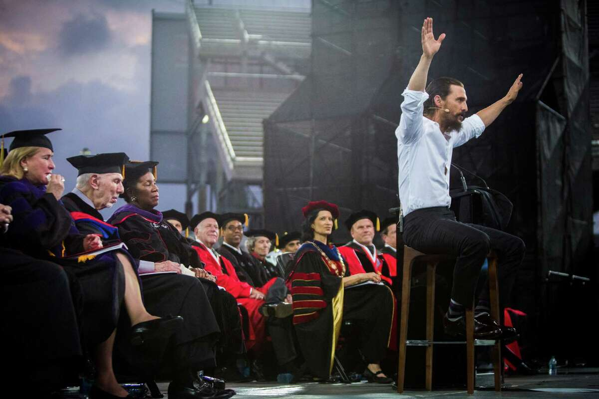 Actor Matthew McConaughey gives his 45-minute address to University of Houston graduates on Friday without the help of notes at TDECU Stadium.