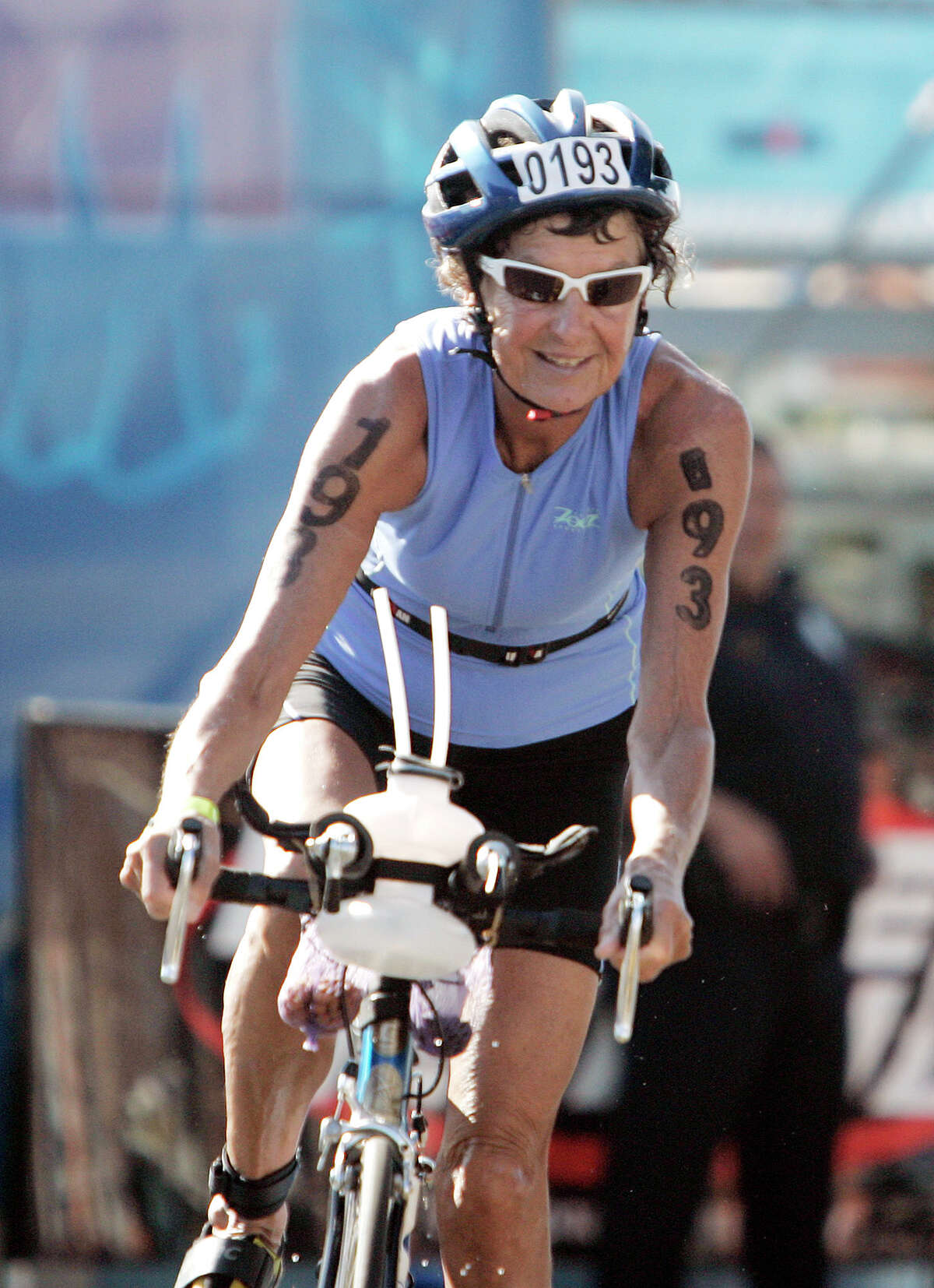 Sister Madonna Buder, 77, of Spokane, Wash., begins the bike portion Saturday, Oct. 13, 2007, in Kailua-Kona, Hawaii, at the Ironman Triathlon World Championship. Over 1,600 athletes from nearly 50 countries were expected to compete in the annual triathlon--a 140.6 mile endurance event that includes a 2.4-mile ocean swim, 112-mile bicycle race and a 26.2-mile run. (AP Photo/Elaine Thompson)
