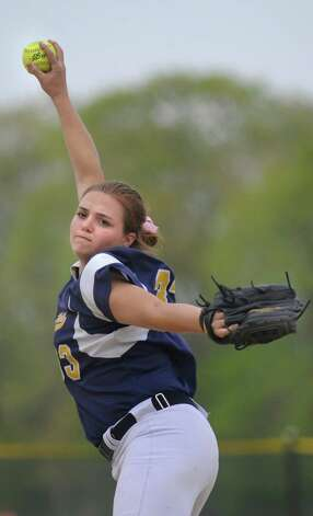 Averill Park's Caraline Wood winds up a pitch during their softball game against Columbia on Friday, May 15, 2015, at Averill Park High in Averill Park, N.Y. (Cindy Schultz / Times Union) Photo: Cindy Schultz / 10031839A