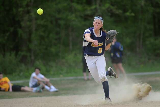 Averill Park's McKenzie Bump makes a play from short during their softball game against Columbia on Friday, May 15, 2015, at Averill Park High in Averill Park, N.Y. (Cindy Schultz / Times Union) Photo: Cindy Schultz / 10031839A