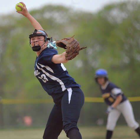 Columbia's Maddie Burns winds up a pitch during their softball game against Averill Park on Friday, May 15, 2015, at Averill Park High in Averill Park, N.Y. (Cindy Schultz / Times Union) Photo: Cindy Schultz / 10031839A