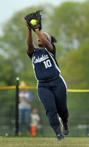 Columbia's Samara Perry catches a fly ball during their softball game against Averill Park on Friday, May 15, 2015, at Averill Park High in Averill Park, N.Y. (Cindy Schultz / Times Union) Photo: Cindy Schultz / 10031839A