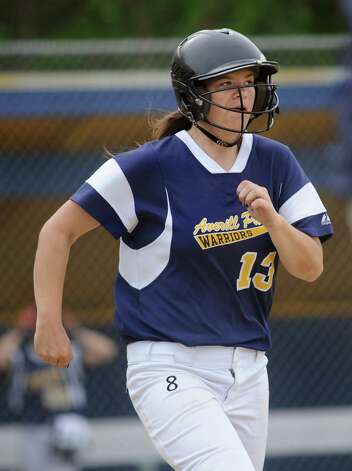 Averill Park's Tori Fisher runs to first during their softball game against Columbia on Friday, May 15, 2015, at Averill Park High in Averill Park, N.Y. (Cindy Schultz / Times Union) Photo: Cindy Schultz / 10031839A