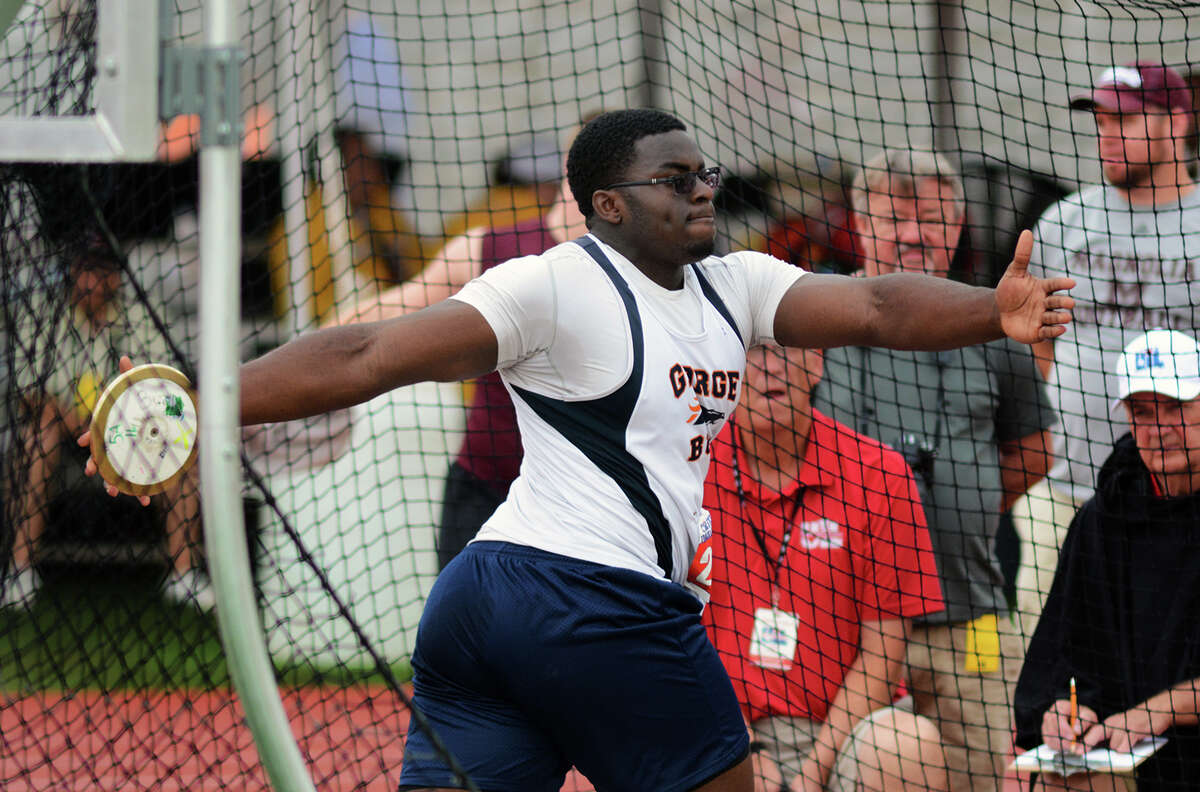 Fort Bend Bush senior Mbi Tanyi competes in the Class 5A Boys Discus competition during the 2015 UIL Track & Field State Championships at Mike A. Meyers Stadium in Austin on Friday, May 15, 2015.