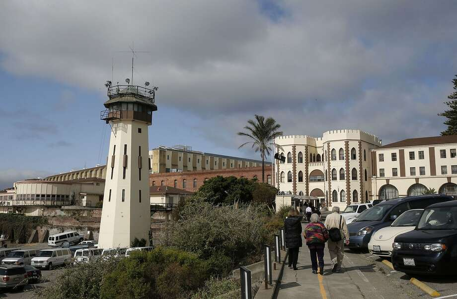 A view from the outside San Quentin State Prison as inmates inside prepare to perform Shakespeare's play Julius Caesar as seen on Fri. May 15, 2015, in San Rafael, Calif. Photo: Michael Macor, The Chronicle
