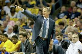 MEMPHIS, TN - MAY 15:  Steve Kerr the head coach of the Golden State Warriorsgives instructions to his team against the Memphis Grizzlies during Game six of the Western Conference Semifinals of the 2015 NBA Playoffs at FedExForum on May 15, 2015 in Memphis, Tennessee.  NOTE TO USER: User expressly acknowledges and agrees that, by downloading and or using this photograph, User is consenting to the terms and conditions of the Getty Images License Agreement  (Photo by Andy Lyons/Getty Images)