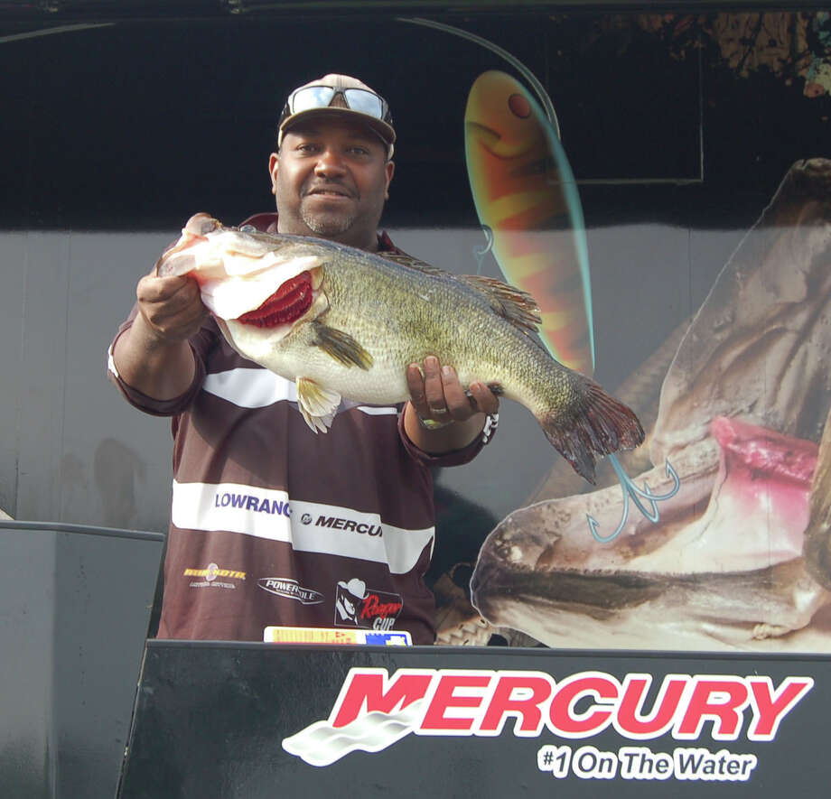 Gil Leger of Lake Charles, LA took over the lead of the Big Bass Splash Saturday with this 11.48 lb lunker  Photo by Patty Lenderman, Lakecaster