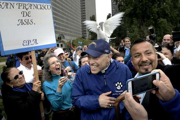With hundreds gathered to show support for San Francisco Archbishop Cordileone during a picnic, a dove owned by a supporter lands on top of his cap, at the Sue Bierman Park along the Embarcadero as seen  on Sat. May 16, 2015, in San Francisco, Calif.