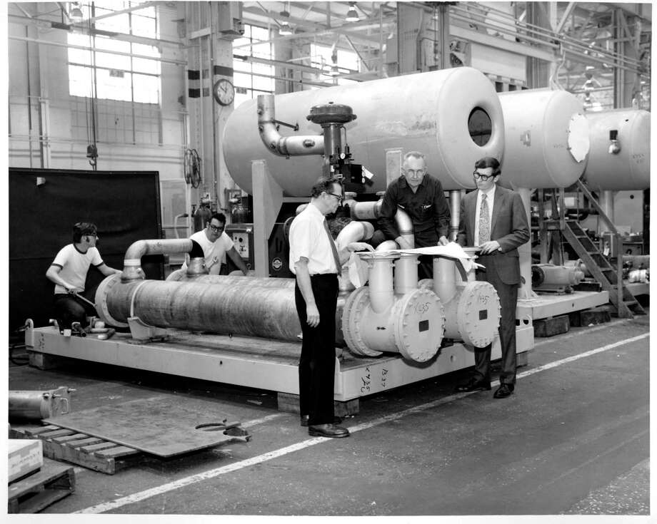 An image of General Electric Co. work at the former American Locomotive Co. in Schenectady in 1971. GE used buildings at the site for its steam turbine generator division until the early 2000s, but it's unknown how much of the current contamination on-site is GE's responsibility. (GE Photograph Collection, miSci)