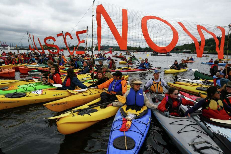Offshore oil drilling is not popular in the Northwest. In 2015, hundreds of kayaktivists took to the water during protest against drilling in the Arctic and the Port of Seattle being used as a port for the Shell Oil drilling rig Polar Pioneer. The protest flotilla drew many paddlers to show their displeasure with the rig being moored in Seattle. Photographed on Saturday, May 16, 2015. Photo: DANIELLA BECCARIA, SEATTLEPI.COM / SEATTLEPI.COM