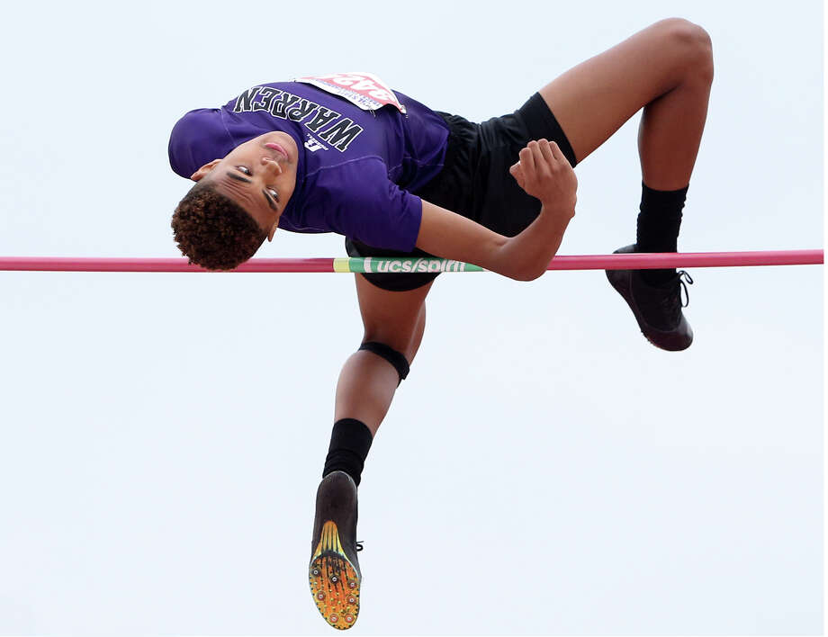 Warren's Colin George attempts to clear the bar in the 6A high jump during the UIL State track and field meet at Mike Myers Stadium in Austin on Saturday, May 16, 2015. George jumped 6 feet, 4 inchis to finish in fifth place at the event.  MARVIN PFEIFFER/ mpfeiffer@express-news.net Photo: Marvin Pfeiffer, Staff / San Antonio Express-News / Express-News 2015