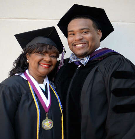 Debra Wilson, 61, graduated Saturday with a bachelor's degree in business administration, alongside her son Reginald, 28, who graduated from the Thurgood Marshall School of Law.