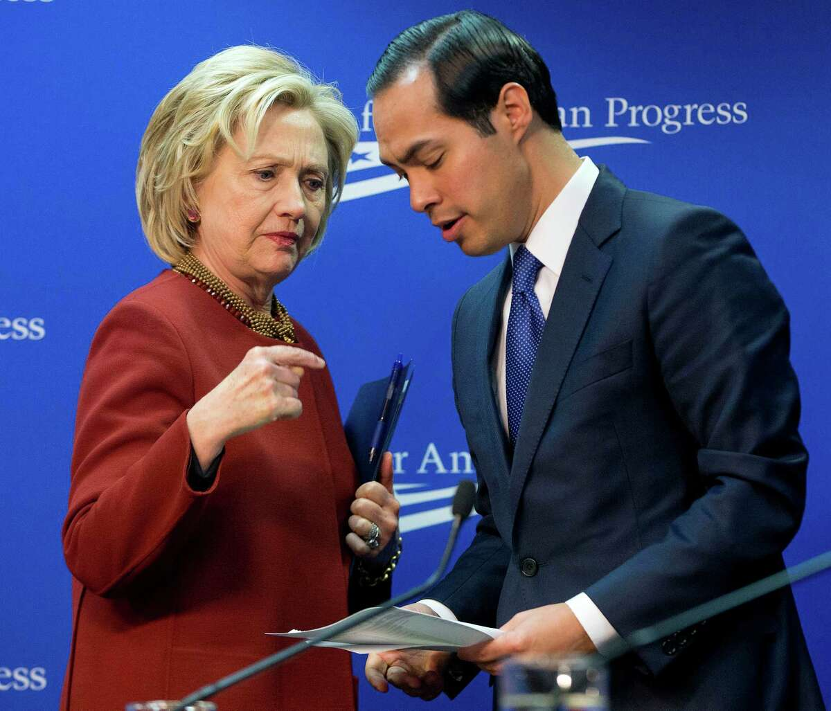 Former San Antonio mayor, now Housing and Urban Development Secretary (HUD) Julian Castro, right, is expected to announce his endorsement of Hillary Clinton when she visits San Antonio on Thursday, Oct. 15, 2015. Castro is widely expected to be on Clinton's short list of potential picks for a VP running mate, should she win the nomination.