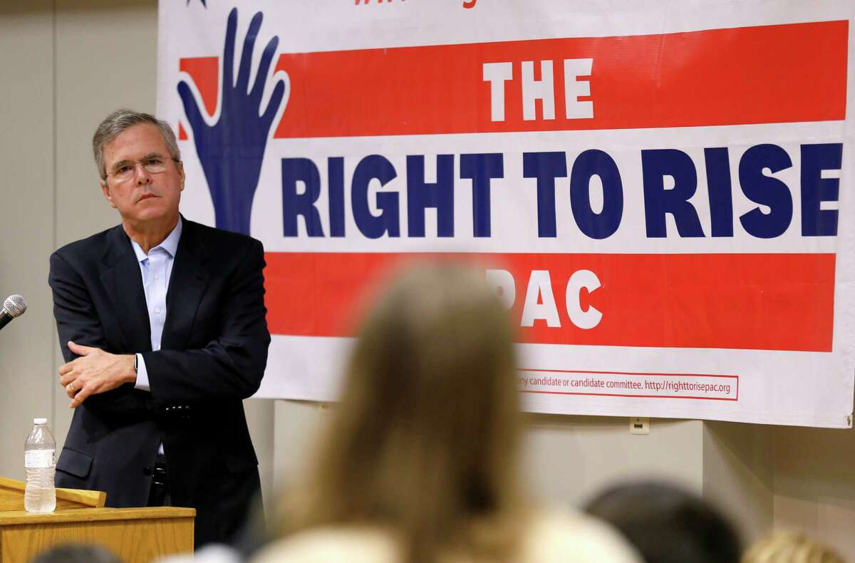 Former Florida Gov. Jeb Bush listens to a question from an audience member during a town hall meeting, Saturday, May 16, 2015, at Loras College in Dubuque, Iowa. (AP Photo/Charlie Neibergall)