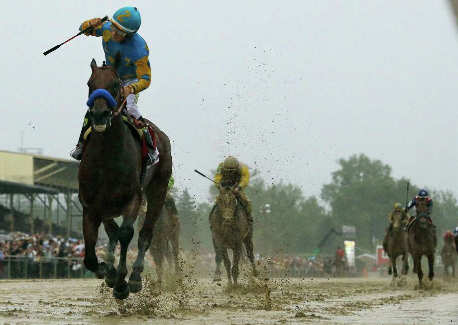Jockey Victor Espinoza knows he has a winner as he guides American Pharoah across the finish line to a seven-length victory on a sloppy track. Photo: Matt Slocum, STF / AP