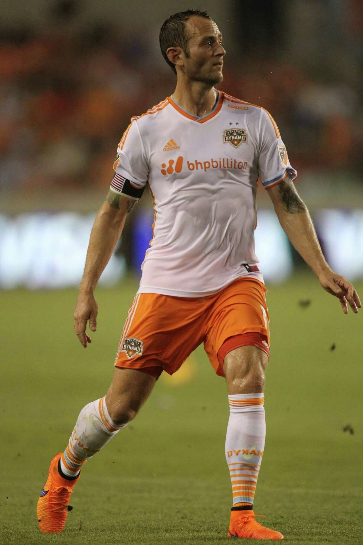 Houston Dynamo midfielder Brad Davis (11) follows the game during the first half of the game agains the Portland Timber, Saturday, May 16, 2015, in Houston. Dynamo won 3-1.
