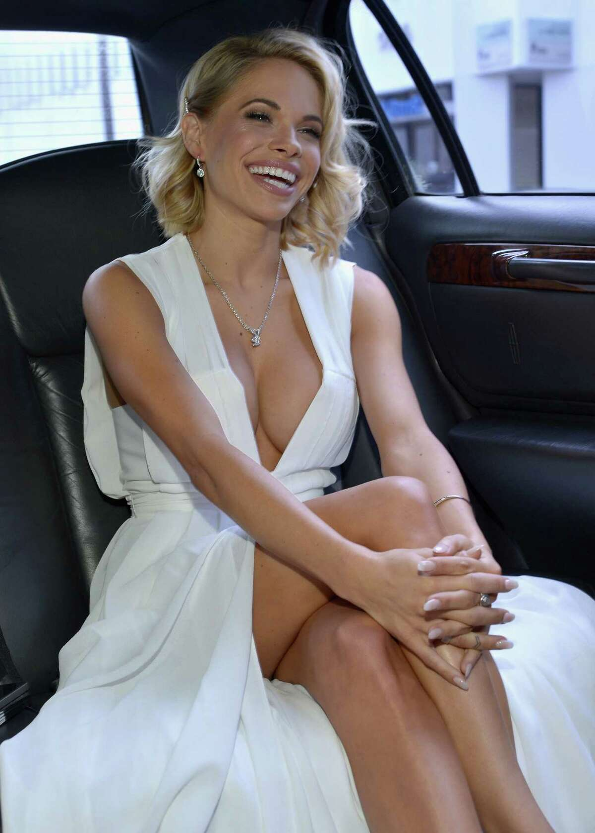 2015 Playmate of the Year Dani Mathers gets ready for Playboy?'s 2015 Playmate of the Year Ceremony at the Playboy Mansion on May 14, 2015 in Los Angeles, California.