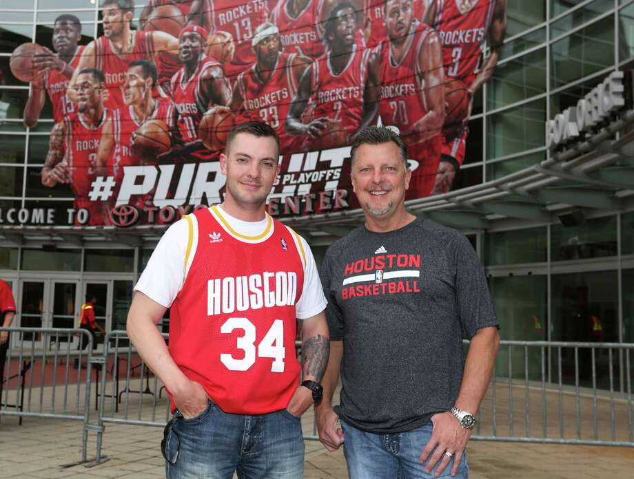 Fans pose for a photo before the Rockets vs. Clippers game at the Toyota Center Sunday, May 17, 2015, in Houston. Photo: Jon Shapley, Houston Chronicle / © 2015 Houston Chronicle