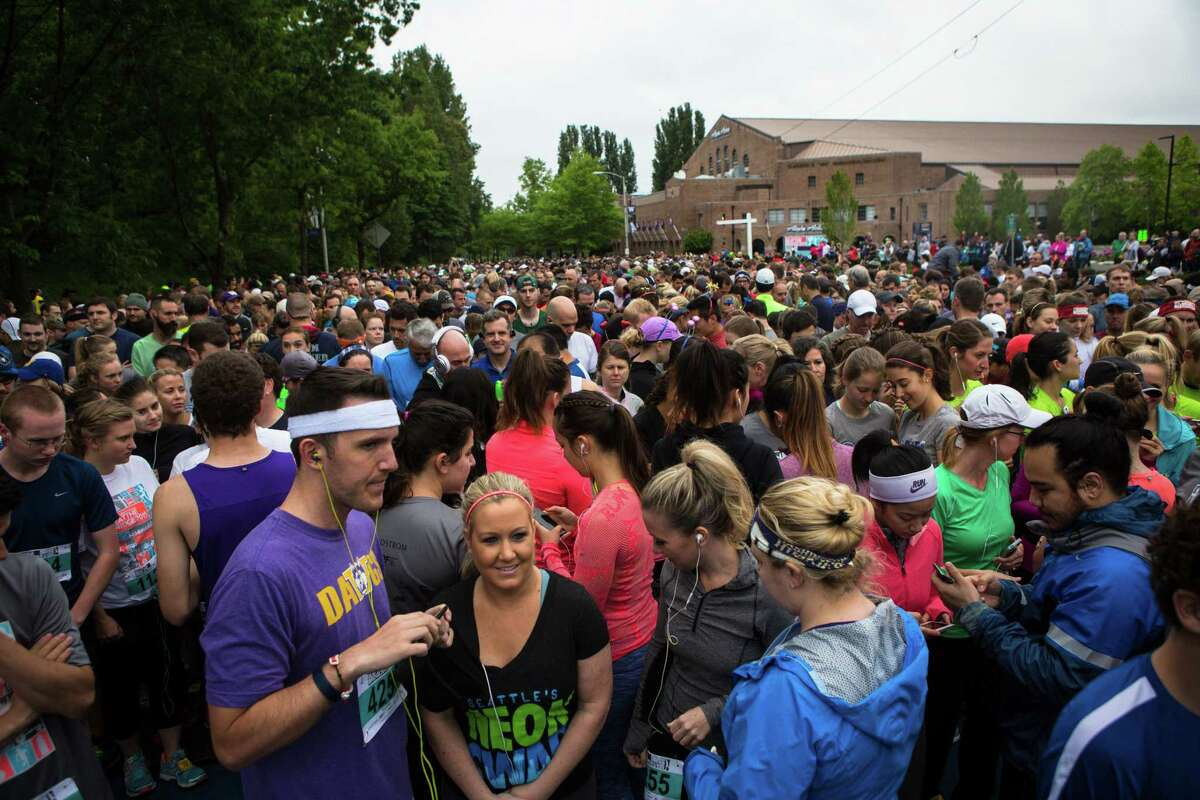 People gather at the start of the 33rd annual Nordstrom Beat the Bridge race on Sunday, May 17, 2015. Thousands participated in the race and fundraising event for the Juvenile Diabetes Research Foundation that raised over 1.4 million dollars for research. The event consists of an 8K run and wheelchair race, a 4-mile walk, a 1-mile fun run and the Diaper Derby for toddlers.