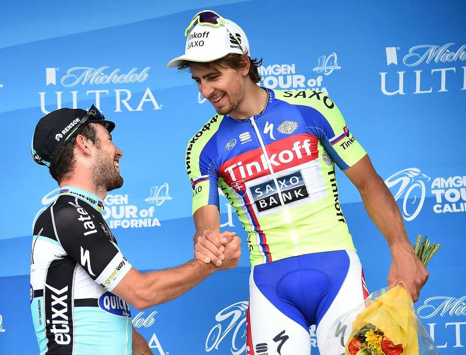 Defending champion Peter Sagan of Slovakia (center) and Mark Cavendish (left) will compete in the 2016 Amgen Tour of California in May. Photo: Harry How, Getty Images