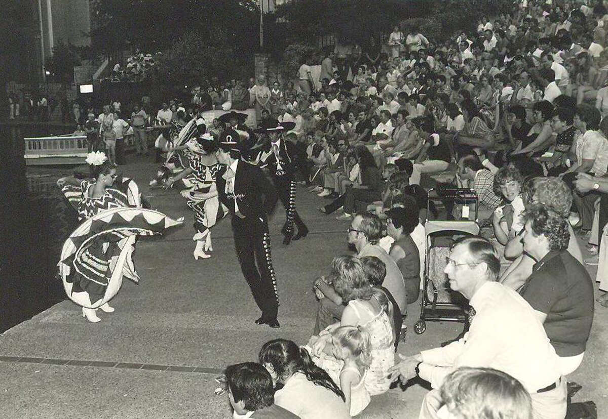 The audience enjoys a performance from the Parks and Recreation Department's dance program at Arneson River Theatre circa 1960.