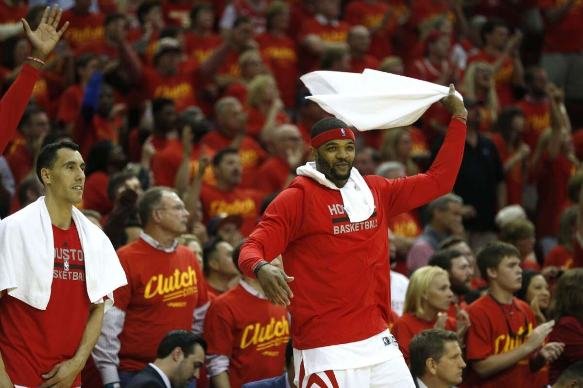 Houston Rockets forward Josh Smith (5) celebrates on the bend at the end of Game 7 of the NBA Western Conference semifinals against the Los Angeles Clippers at the Toyota Center Sunday, May 17, 2015, in Houston. The Rockets beat the Clippers 113-100, to win the best-of-seven series 4-3. ( James Nielsen / Houston Chronicle )