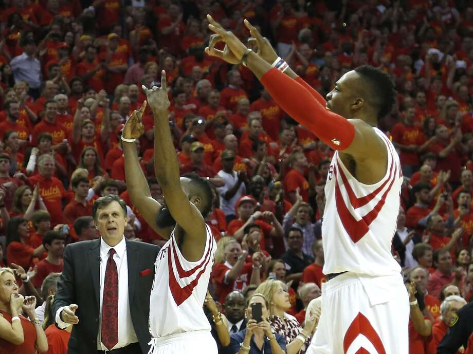 The last time the Rockets were in a Game 7, James Harden (center) and Dwight Howard celebrated a dominating win over the Clippers. Photo: Houston Chronicle