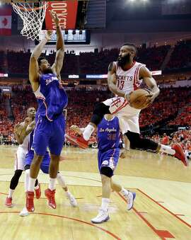 Guard James Harden (13) leads the Rockets into the next round after the Rockets beat the Clippers in Game 7, 113-100.