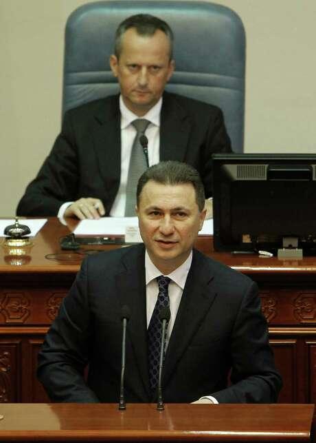 Macedonian Prime Min- ister Nikola Gruevski denies involvement in wiretaps. Photo: Boris Grdanoski /Associated Press / AP