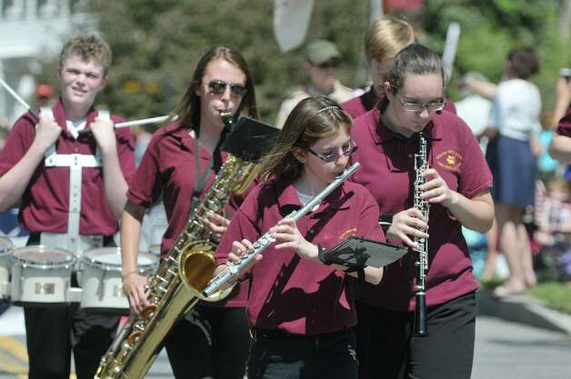 Members of the Berne-Knox-Westerlo Marching Band perform as they march in the Altamont Memorial Day Parade on Sunday, May 17, 2015, in Altamont, N.Y.    (Paul Buckowski / Times Union) Photo: PAUL BUCKOWSKI / 00031853A