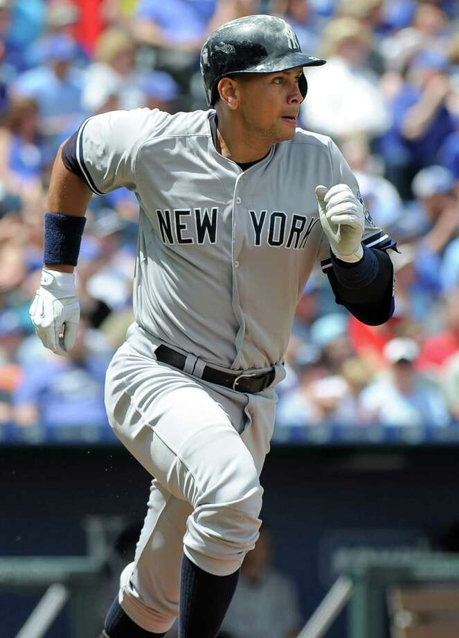 KANSAS CITY, MO - MAY 17:  Alex Rodriguez #13 of the New York Yankees runs to first after hitting a double in the fourth inning against the Kansas City Royals at Kauffman Stadium on May 17, 2015 in Kansas City, Missouri. (Photo by Ed Zurga/Getty Images) ORG XMIT: 538579467 Photo: Ed Zurga / 2015 Getty Images