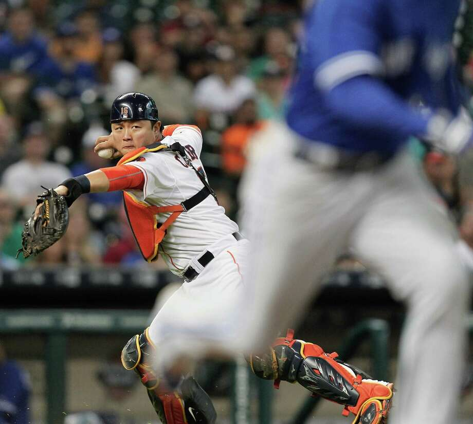 Astros catcher Hank Conger started for the second straight day - the first time this year it's happened - as starter Jason Castro sat out Sunday's game. Photo: Bob Levey, Stringer / 2015 Getty Images