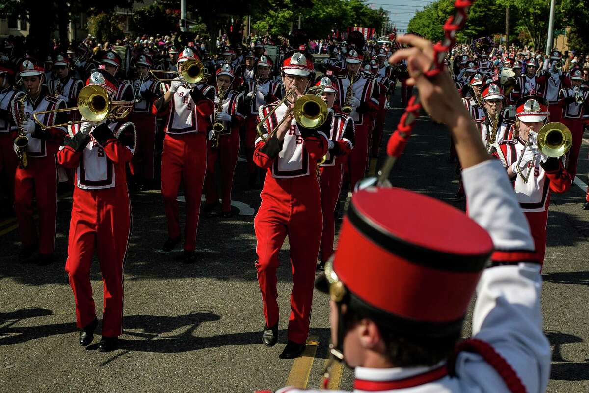 The Ballard High School marching band performs during the annual Syttende Mai parade Sunday, May 17, 2015, in the Ballard neighborhood of Seattle, Washington. The parade is part of Norwegian Constitution Day and is heralded as one of the largest celebrations outside of Oslo.