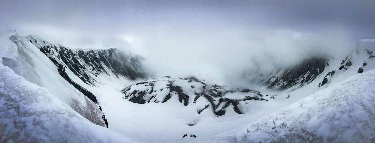 A panoramic photograph shows the crater and newly-forming cone on Mount St. Helens during a climb to the rim of the volcano on Monday, May 11, 2015. The volcano in southwest Washington exploded 35 years ago, on May 18, 1980.