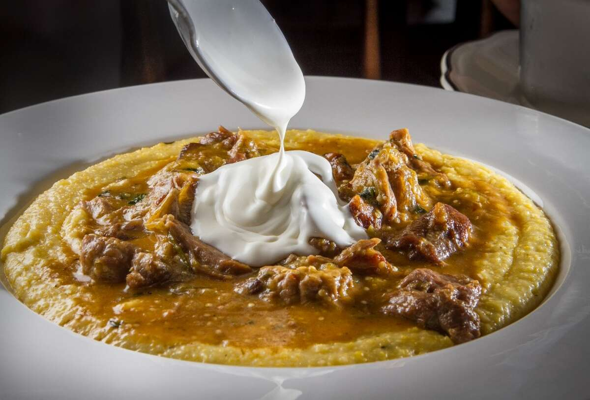 One of the restaurant's winks to local history can be seen in this pork stew. The dish is always served with a wedge of lime, to commemorate the time when Port Costa was the largest shipping port for wheat, and the sailors treated their scurvy with much-needed citrus.
