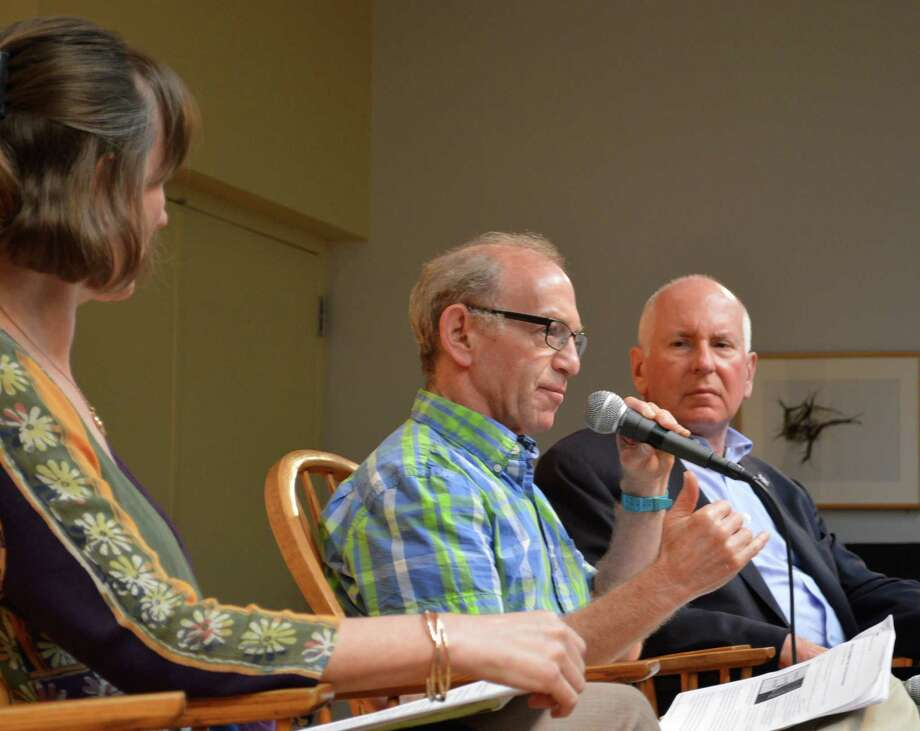 "At a ""community conversation"" called in the wake of ""#White Lives Matter"" flyers found around town, the Sunday discussion was led by, from left, the Rev. Alison Patton of Saugatuck Congregational Church, writer Dan Woog and First Selectman Jim Marpe. Photo: Jarret Liotta / Westport News"